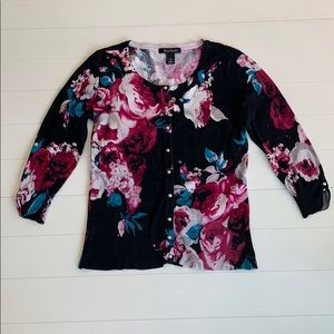 White House Black Market Floral Cardigan Small